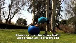 Plancha con codos sobre balón