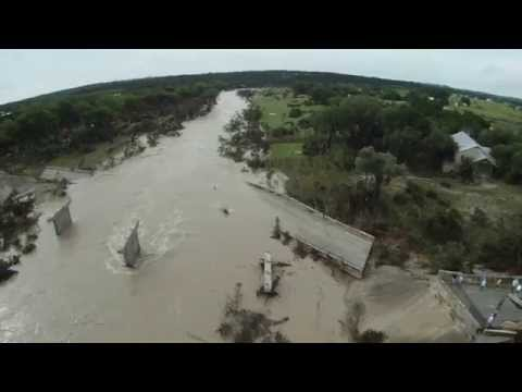 Last night the Blanco River in Texas rose 6.5 feet in 10 minutes, over 25 ft in an hour. Here is an aerial view of one of the bridges the flooding knocked out.
