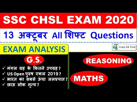 SSC CHSL (13 October 2020, All Shifts) | Exam Analysis | Asked Questions | Maths | GS | Reasoning
