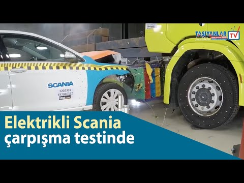 Elektrikli Scania çarpışma testinde - Crash testing an electric Scania truck