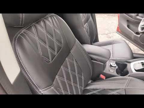 """Чехлы на Nissan Qashqai (J11), серии """"Premium"""" с ромбами - серая строчка"""