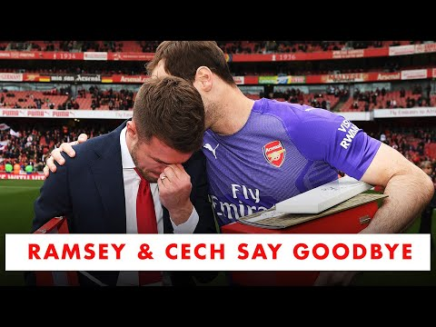 Ramsey and Cech receive a guard of honour as they say goodbye to Arsenal