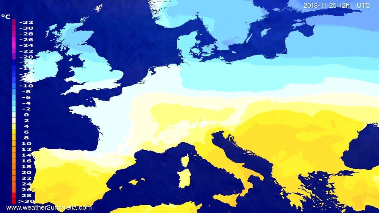 Temperature forecast Europe 2018-11-23