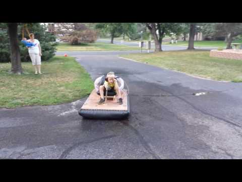 Kid Driving The Homemade Hovercraft His Dad Built