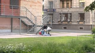 Is she dead or drunk? Fun to watch Rigas Alchoholoc near Central Station