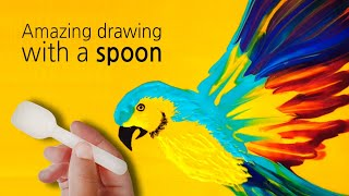 Video (133) Amazing drawing with a spoon _ Beautiful parrot _ Fluid acrylic _ Designer Gemma77 MP3, 3GP, MP4, WEBM, AVI, FLV Juni 2019