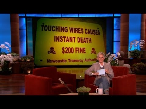 signs - Ellen's viewers sent in more hilarious signs, including one that highlights the dangers of visiting a hilly crocodile park in a wheelchair. If you have a fun...
