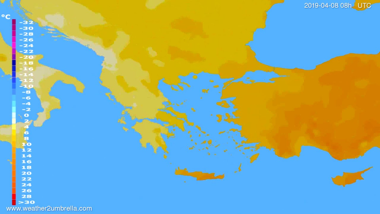Temperature forecast Greece // modelrun: 00h UTC 2019-04-07