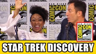 Star Trek Discovery Comic Con Panel news & highlights with Sonequa Martin-Green, Jason Isaacs, Doug Jones, Shazad Latif, Mary Wiseman, Anthony Rapp, James Frain, Alex Kurtzman, Gretchen J. Berg, Aaron Harberts, Heather Kadin, Akiva Goldsman & Rainn Wilson.Subscribe for more! ► http://bit.ly/FlicksSubscribeN.B. Footage, clips, previews, trailers & sneak peeks shown at Comic Con panels are not included in this video, as these are not allowed to be filmed. PLAYLISTS YOU MIGHT LIKE------------------------Marvel ► http://bit.ly/MarvelVideosFox Marvel Movies ► http://bit.ly/FoxMarvelVideosDC ► http://bit.ly/DCVideosMovie Deleted Scenes & Rejected Concepts ► http://bit.ly/MovieDeletedScenesEaster Eggs ► http://bit.ly/EasterEggVideosAmazing Movie Facts ► http://bit.ly/ThingsYouDidntKnowVideosPixar ► http://bit.ly/PixarVideosDisney Animation ► http://bit.ly/DisneyAnimationVideosStar Wars ► http://bit.ly/StarWarsVidsSOCIAL MEDIA & WEBSITE----------------------Twitter ► http://twitter.com/FlicksCityFacebook ► http://facebook.com/FlicksAndTheCityGoogle+ ► http://google.com/+FlicksAndTheCityWebsite ► http://FlicksAndTheCity.comThanks to Comic Con International http://www.comic-con.org/Over 50 years ago, the world was first introduced to what would quickly become a cultural phenomenon. It was a television series that inspired developments in science and technology, broke social barriers, and transported viewers around the globe to new adventures and uncharted frontiers. This fall, Star Trek: Discovery follows the voyages of Starfleet on their missions to discover new worlds and new life forms while learning that to truly understand all things alien, you must first understand yourself. The series will feature a new ship and new characters while embracing the same ideology and hope for the future that inspired a generation of dreamers and doers. Join members of the cast alongside the creative minds behind the new series for a conversation and introduction to Star Trek: Discovery. The newest edition of the Star Trek franchise will premiere in the U.S. on CBS All Access this fall, following a broadcast premiere on the CBS Television Network.