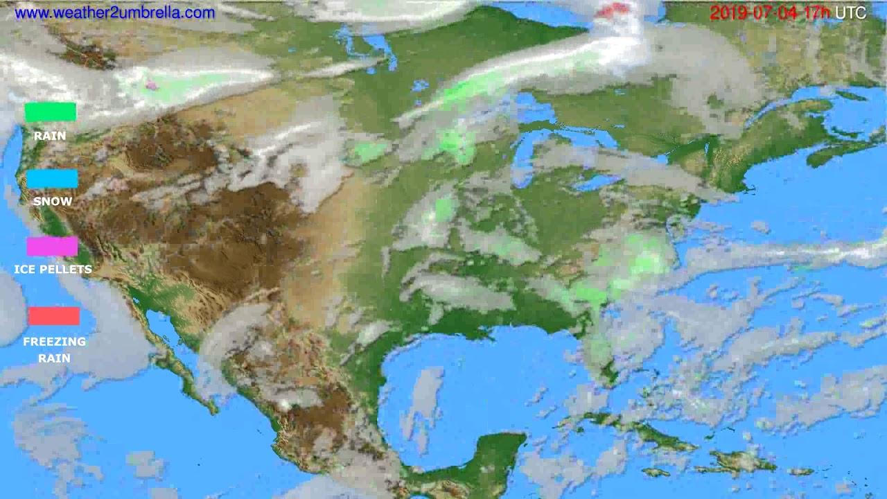 Precipitation forecast USA & Canada // modelrun: 00h UTC 2019-07-03