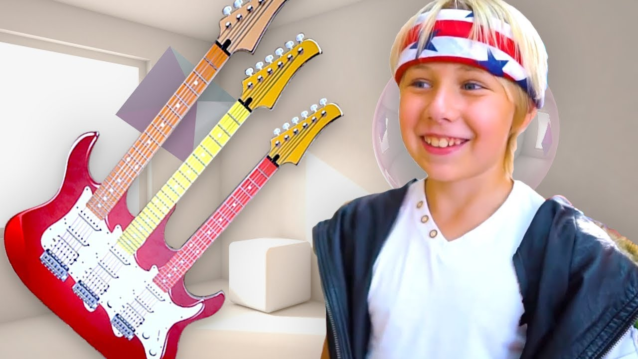 Yarik, Sasha and Mom Play musical instruments, found Super Toy Electric Guitar and Starts a Band