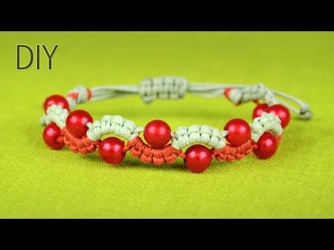 macramè - bracciale con perle