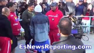 Mayweather Vs Pacquiao Manny Checking Out Buboy's Army Hat - EsNews
