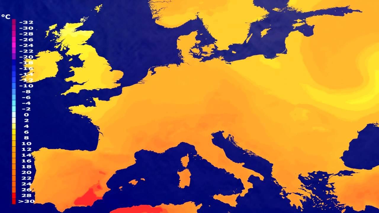 Temperature forecast Europe 2016-07-19
