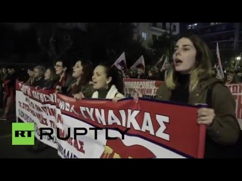 Athens marks International Women's Day with anti-NATO rally (Ruptly)