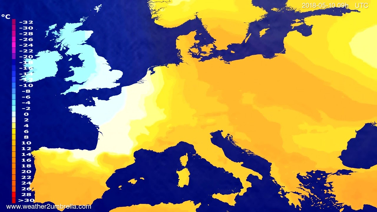 Temperature forecast Europe 2018-05-08