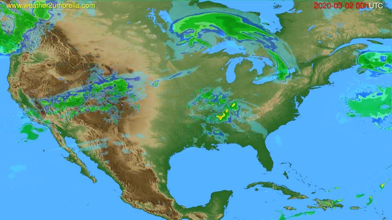 Radar forecast USA & Canada // modelrun: 12h UTC 2020-03-01