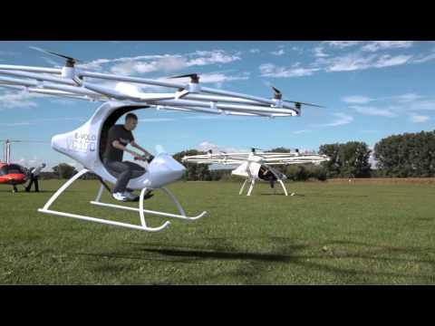 Транспорт будущего мультикоптер с электрическим двигателем Volocopter онлайн видео