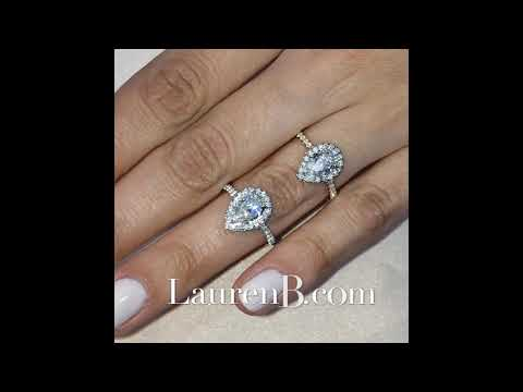Pear Shape Halo Engagement Rings