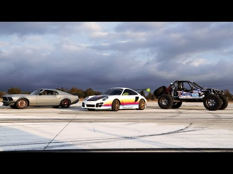 drag race - After a week of checking out the action at the 2013 SEMA Show, Greg, Finnegan and Fred meet at El Toro Marine Base to drag race a vehicle from their world. R...