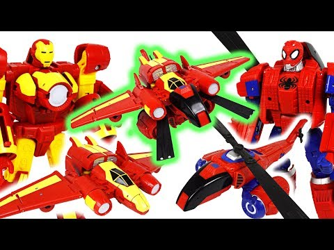 Dinosaurs are appeared! Marvel avengers transformers Spider Man, Iron Man combine! - DuDuPopTOY