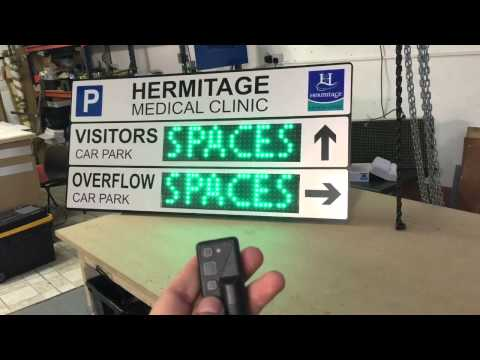Car park electronic LED sign - outdoor parking directional sign