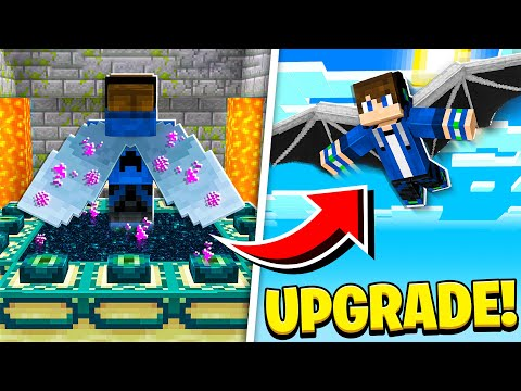 UPGRADING ELYTRA into DRAGON WINGS in Minecraft! (EP34 Scary Survival 2)