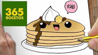 COMO DIBUJAR PANCAKES KAWAII PASO A PASO - Dibujos kawaii faciles - How to draw a Pancakes