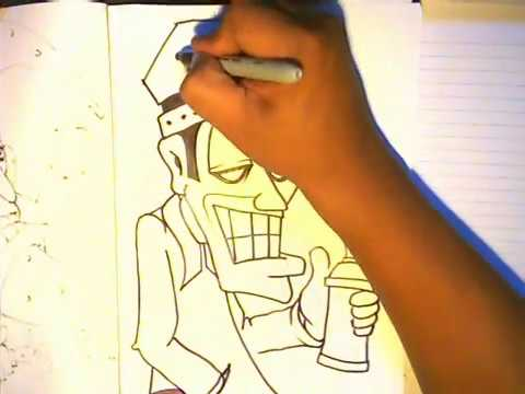 How to Draw a Graffiti character - Imperial Brother - (We Come To Rock) By WIZARD