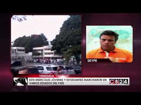 Opositor Leopoldo López ofreció declaraciones a CB24 Noticias sobre protestas en Venezuela
