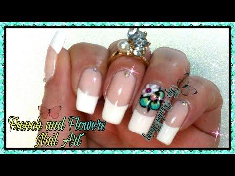 Diseños de uñas - DISEÑOS DE UÑAS FRANCES CON FLORES  FRENCH NAIL DESIGNS WITH FLOWERS