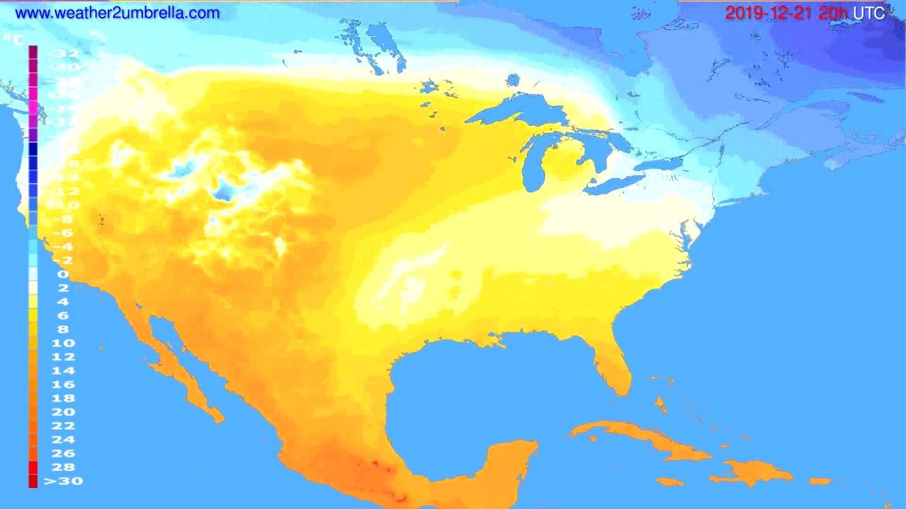 Temperature forecast USA & Canada // modelrun: 12h UTC 2019-12-20