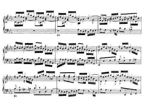 J.S. Bach. El clave bien temperado I. Fuga nº 7 en mi bemol  mayor. Partitura on line.