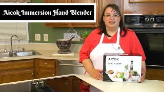 "Join Amy as she does an unboxing and review of the Aicok Immersion Hand Blender. This immersion blender is a 4-in-1 blending stick that comes with a processor/chopping bowl, hand mixer, mincer, and egg beater. It is 5 speeds and can be used right in the pot for pureeing soups. It is great for mixing, chopping, grinding, blending, whipping, and pureeing. Will it blend? Yes! Amy Learns to Cook is all about learning to make simple, tasty food from fresh ingredients.  One year ago, I made a commitment to stop eating processed convenience foods.  I decided to learn to cook ""real"" food. Join me!  Let's learn to cook together! Enjoy! Please share! Aicok Immersion Hand Blender with Chopper, Whisk & Beaker:http://amzn.to/2rOt9EsAmy's Belgian Waffles:https://youtu.be/kWIx7ybzbm0Mini Chopper Wars: Ninja, KitchenAid, Cuisinart, & Oster Mini Food Processors:https://youtu.be/8i-1b8DiAckPlease SUBSCRIBE to my channel, LIKE, and leave a COMMENT.Please visit my website: www.amylearnstocook.comAny links in this description, including Amazon, are affiliate links.I received this product free of charge in exchange for my honest review.Life of Riley by Kevin MacLeod is licensed under a Creative Commons Attribution license (https://creativecommons.org/licenses/by/4.0/) Source: http://incompetech.com/music/royalty-free/index.html?isrc=USUAN1400054 Artist: http://incompetech.com/"