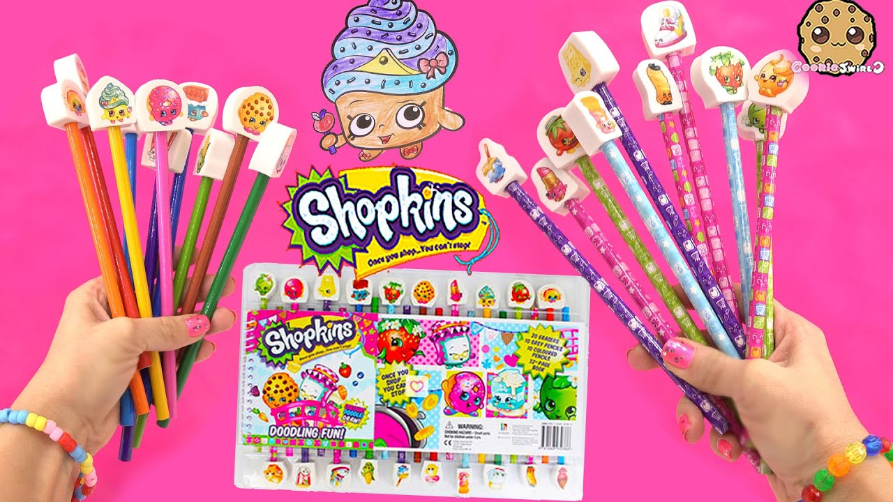 Sh shopkins coloring pages cupcake - Shopkins Doodling Fun Art Color Book Coloring Pencils Erasers Set Unboxing Video Cookieswirlc