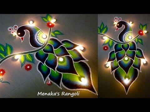 Video Beautiful Peacock Rangoli Design download in MP3, 3GP, MP4, WEBM, AVI, FLV January 2017