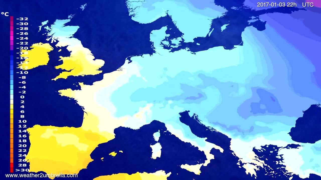 Temperature forecast Europe 2017-01-01