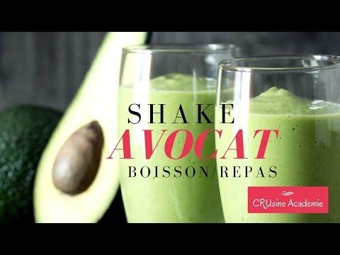 Shake avocat boisson nutritive et crue