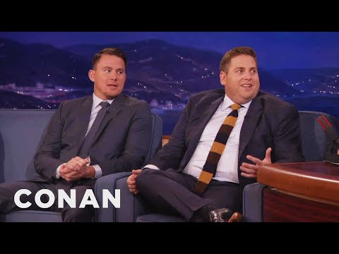CHANNING TATUM - If you want to drive Jonah crazy, grab his lower thigh and squeeze HARD, just like Channing. More CONAN @ http://teamcoco.com/video Team Coco is the official...