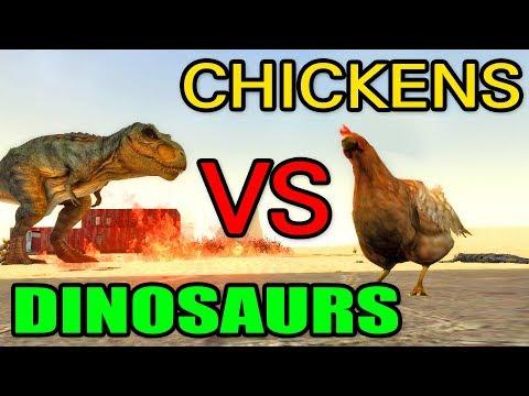 "Garrys Mod - CHICKENS VS DINOSAURS! // Gmod ""More Chicken SNPCs"" Mod Testing (Garry's Mod)"