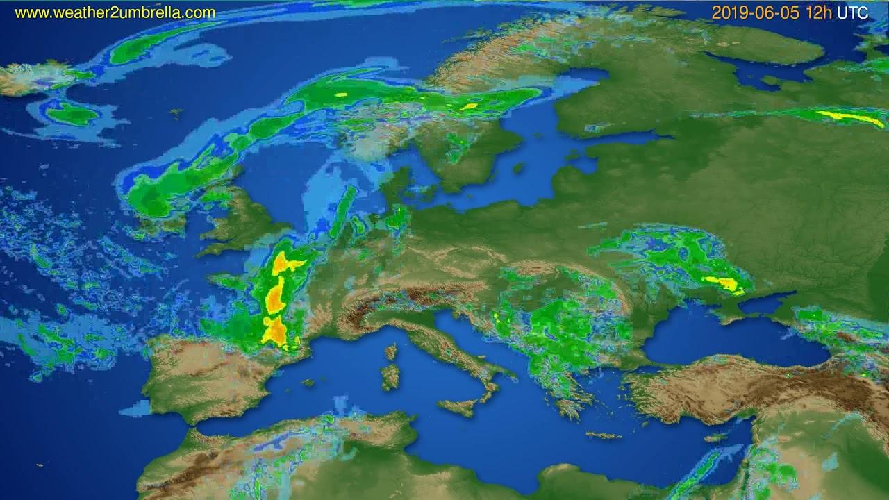 Radar forecast Europe // modelrun: 00h UTC 2019-06-05