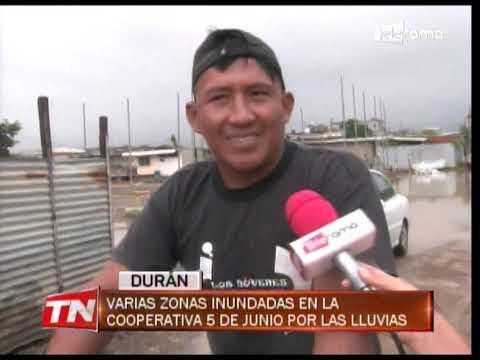 Varias zonas inundadas en la Cooperativa 5 de Junio por las lluvias