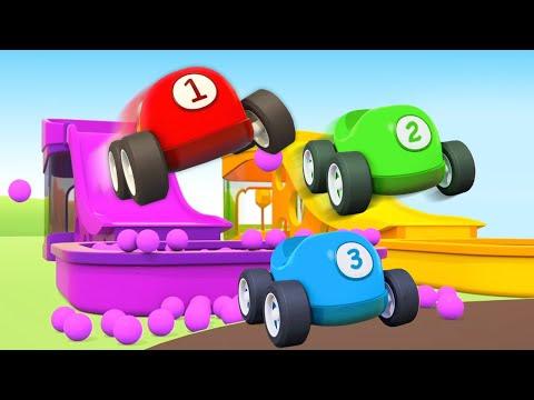Zeichentrickfilm für Kinder. Spaß mit den Helfer Autos. 3 Folgen am Stück