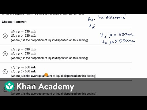 Examples Of Null And Alternative Hypotheses Video Khan Academy