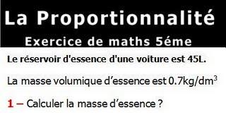 Maths 5ème - La proportionnalité volumes Exercice 2