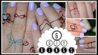 DIY Easy Wire Rings ||treble clef, bow, flower, infinity, chevron, spiral - YouTube