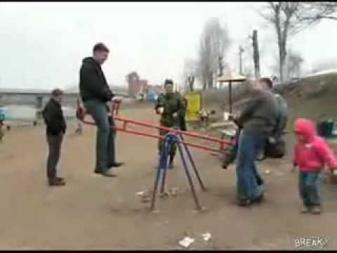 Man Flips over seesaw