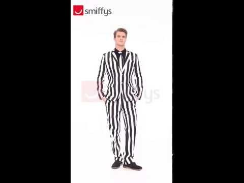 Déguisement costume trois pièce ligné noir et blanc
