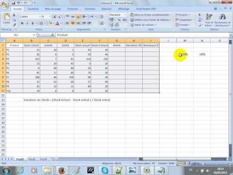 Cours De Excel  (  TVA ; HT ; TTC ; Variation de Stock..ect)