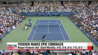 Tennis Highlights, Video - [HD]Federer mounts incredible comeback to book spot in U.S. Open semifinals   US오픈;